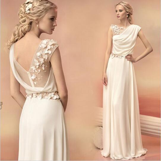 Long Evening Dresses 2019 Bride Princess Banquet Lace Chiffon Prom Dress  Greek Goddess Elegant Backless Plus Size Formal Dress Myers Evening Dresses