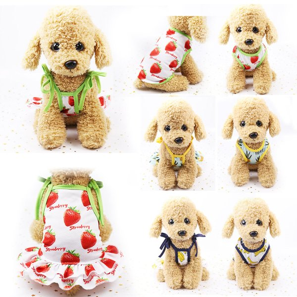 Fashion 1PC Dog T-shirt Lovers Pet Clothes XS-XL Dog Skirt Pineapple Fruits Printed Strawberry Pet Supplies Dog Clothes