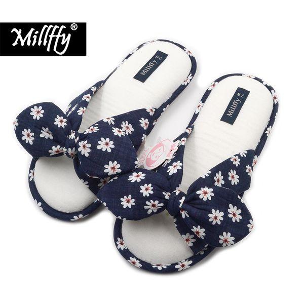 Millffy 2018 yeni fashional yaz Çiçek tatlı pamuk terlik Japon çiçekler kadın terlik ayakkabı