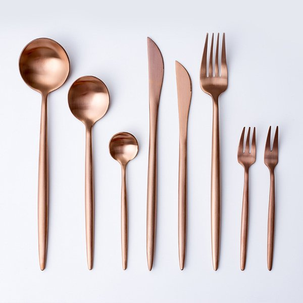 Rose Gold Dinnerware Set Tableware Fork Knife Spoon Matte Rose Gold Metal Stainless Steel Dinner Knife Flatware sets T2I5332