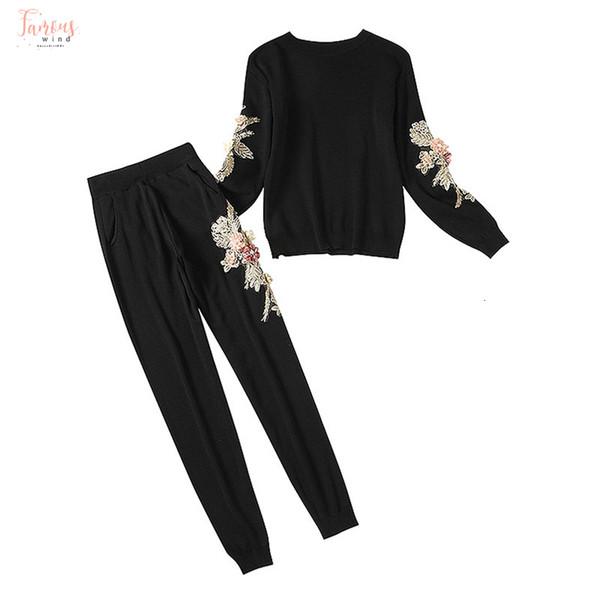 Çiçekler Örgü Kadınlar Kış 3D Çiçek Süveter İnce Pantolon Giyim Kış Vogue Moda Eşofmanlar Setleri