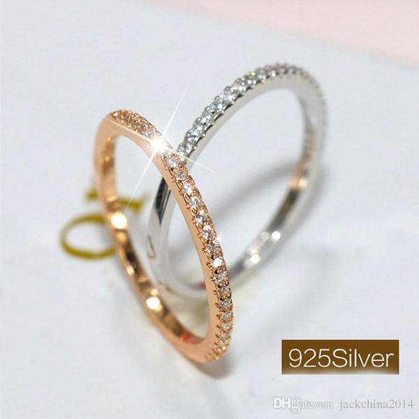 Simple Fashion Jewelry Cute 925 Sterling Silver&Rose Gold Filled Single CZ Diamond Little finger Party Wedding Band Ring for Women Gift