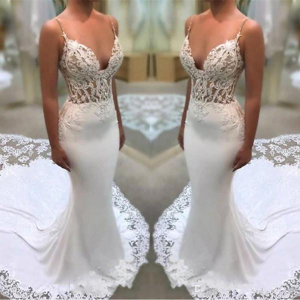 Discount Plus Size Lace Flowers Appliques White Wedding Dresses