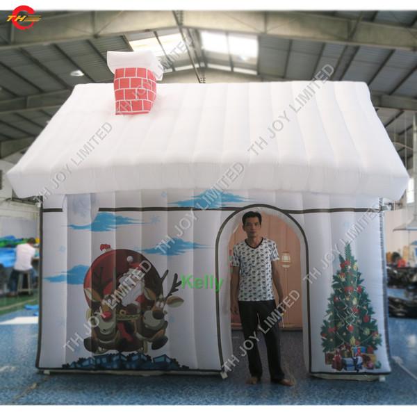 4x3m tente de maison de noël gonflable portable gonflable père noël tente de tente gonflable grotte de père noël à vendre