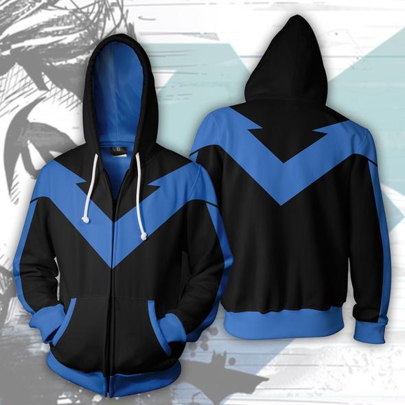 2018 Herbst Winter 3D Print Nightwing Hoodies Sweatshirts Mode Cosplay Casual Zipper Kapuzenjacke Kleidung