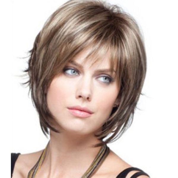 WoodFestival short wigs fdffordsfsdf black werwomen natural cheap synthetic hair wigs straight 35cm black wig bangs heat resistant fiber