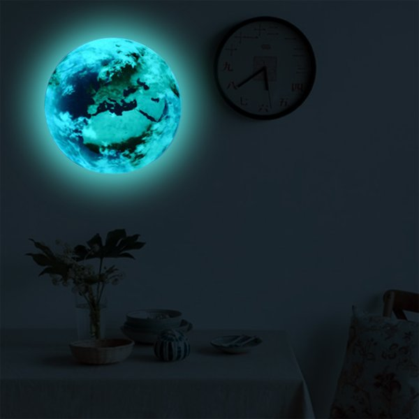 ILOKY New 3D Wall Stickers for Kids Room Glow In The Dark Stars Earth Moon Luminous wall stickers living room Bedroom home decor
