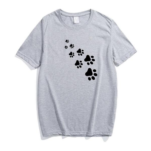 Compre Pata Do Gato Imprimir Preto E Branco Dos Desenhos Animados Divertido Tamanho Grande T Shirt De Algodão Puro Estilo Europeu E Americano Simples