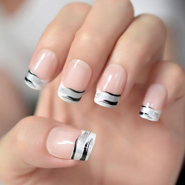 Natürliche rosa nackte französische falsche Nagelspitzen weißes schwarzes Zebra-Muster-Silber-Glitter-Fälschungs-Nagel-Quadrat voll künstliches Imitat Ongle