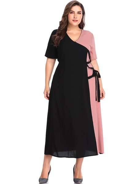 Plus Size Short Sleeve Summer Fit And Flare Dress Woman Contrast Color V Neck Long Loose Dress