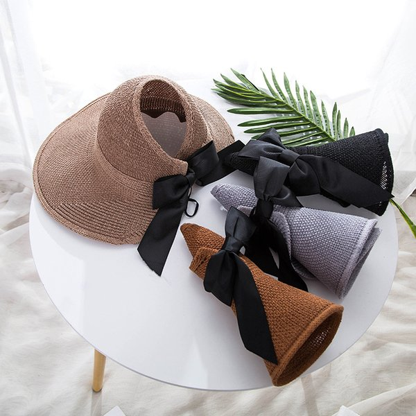 New Fashion Summer Hat Donna Straw Bow Design Viaggi Grande pieghevole Cappello a tesa larga femminile Beach Hat Outdoor Shade Cappuccio CP0232