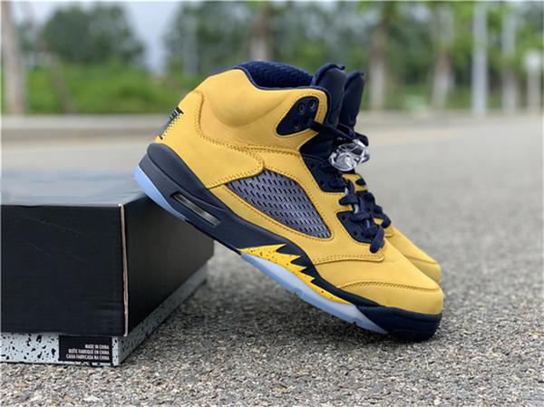 Лучшие 2019 Air 5 SP Мичиган Inspire Ретро Amarillo College Navy Basketball Shoes CQ9541-704 Аутентичные спортивные кроссовки Размер 7-13