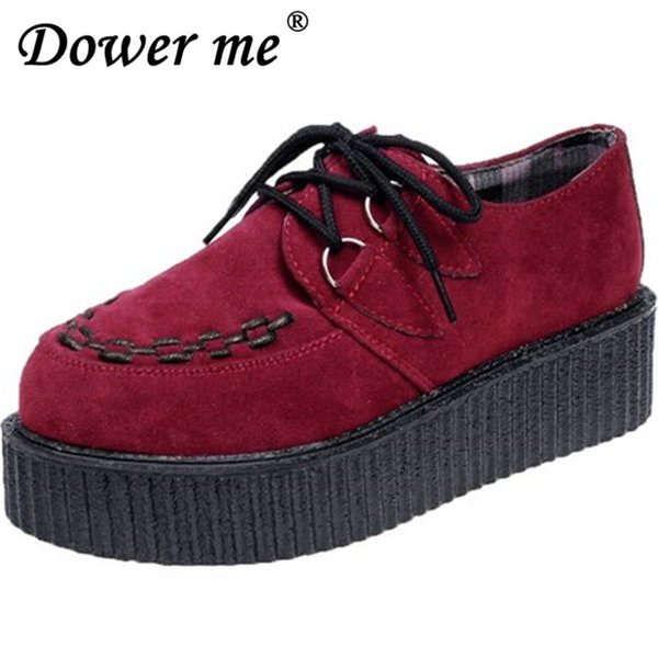 Designer Dress Shoes Creepers Woman plus size 35-41 platform Women 2019 a variety of color design Soft and comfortable black red