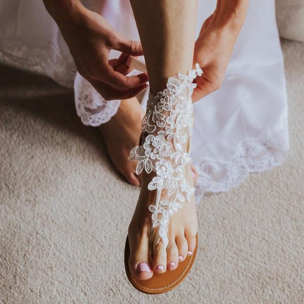 Nouvelle arrivée 2019 Plage élégante dentelle femmes mariage sandales aux pieds nus Chaîne de cheville bon marché Personnalisées nuptiale de demoiselle d'honneur Bijoux pied