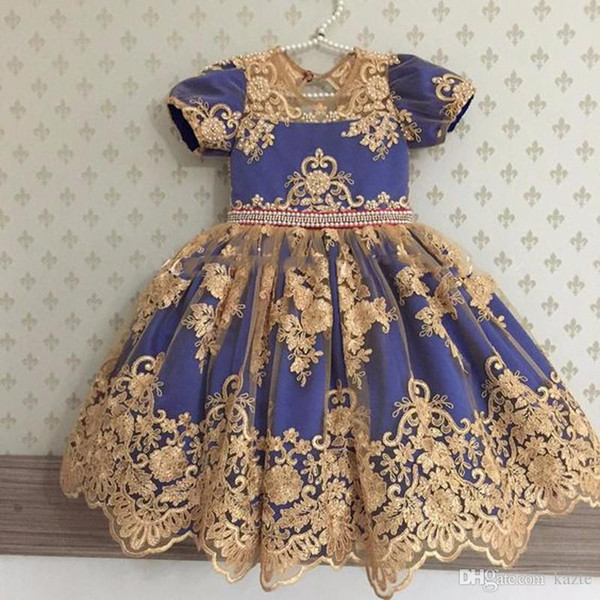 Lovely Royal Blue with Gold Appliques Princess Flower Girl Dress For Toddler with Big Bow girls communion dresses Celebrity Birthday Dress