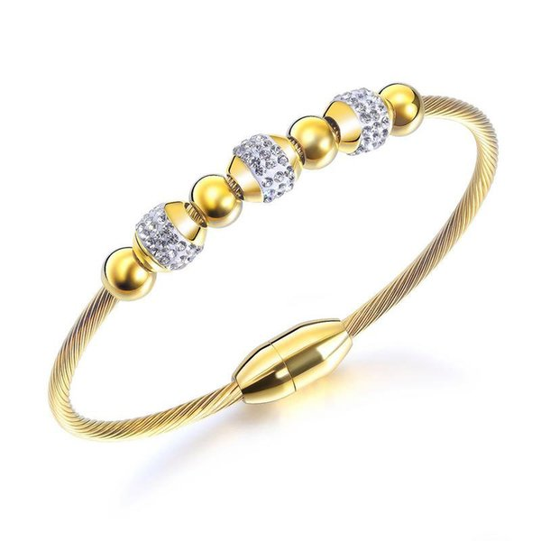 Fashion Gold Color Charm Designer DIY Stainless Steel Bear Bangle Bracelet For Women Classic Style Jewelry Party Gift