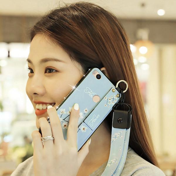 For Xiamo Mi Max 2 Phone Case with Wrist Strap Hand Band Glitter Diamond Lanyard Soft TPU Cover For Xiaomi Mi 8 Lite 5X 6X Play Coque