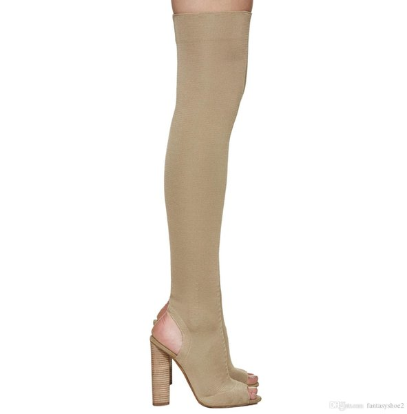 Individual Stretch Fabric Stocking Booties For Women Peep Toe Knitted Elastic Chunky Heel Fashion Runway Thigh High Boots