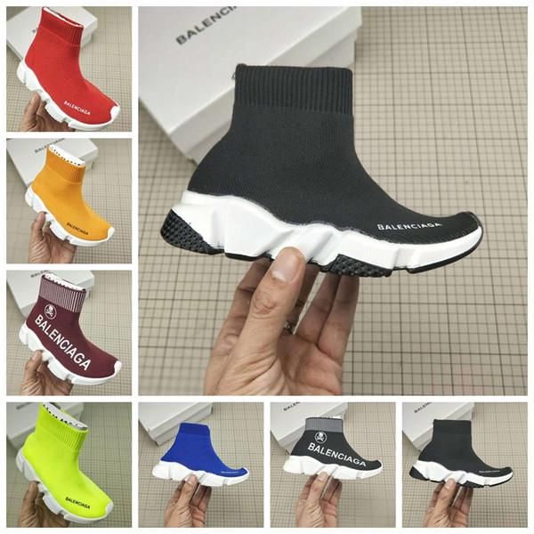 Çocuk ayakkabı moda koşu spor sneaker siyah renk üzerinde kayma yüksek kalite kutusu ile göndermek AB 24-35 erkek bebek kız atletik ayakkabı