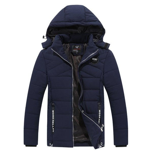 New Winter Jacket Men Hat Detachable Warm Coat Cotton-Padded Outwear Males Jackets & Coats Hooded Collar Parkas Size L-4XL