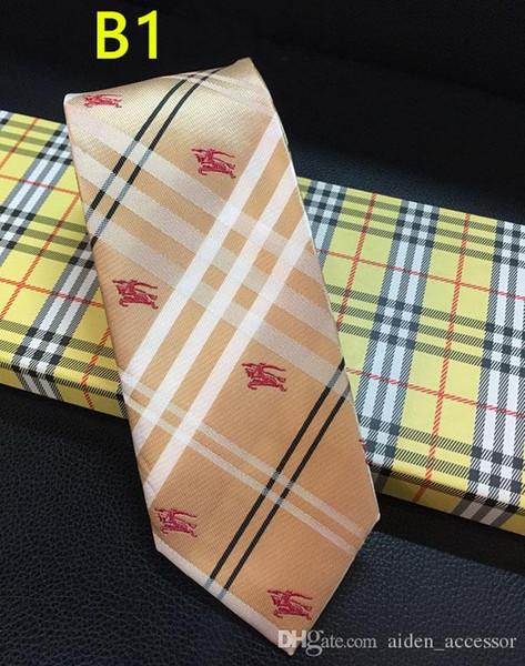 2019 Роскошные мужские Tie 7CM полосатые шелковые Галстуки жаккардовые Тканые шеи Галстуки для мужчин Формальное Бизнес Свадьба партии бренда галстука с коробкой благе