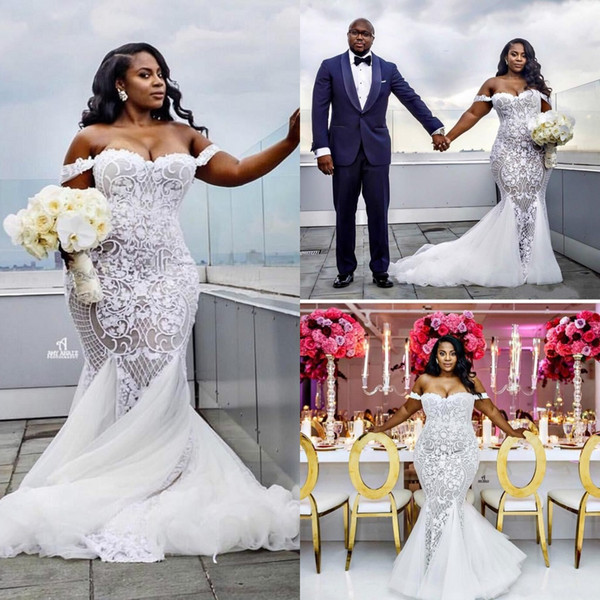 best selling Eleagnt Sexy Mermaid Wedding Dresses 2019 Lace Applique Trumpet Bridal Gowns Off Shoulder African Beach Plus Size Wedding Dress