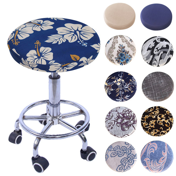 2019 New Round Chair Cover Bar Stool Cover Elastic Seat Cover Home Chair Slipcover Round Chair Bar Stool Floral Printed