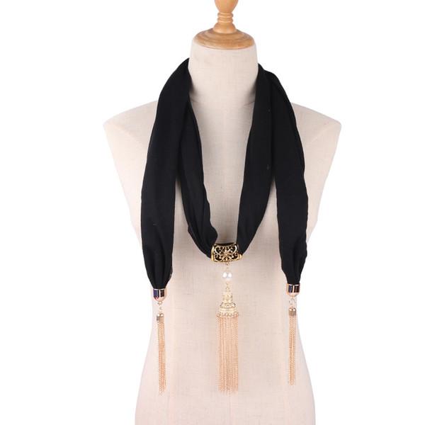 Solid Jewelry Statement Necklace Pearl Tassel Pendant Scarf Head Scarves Women Foulard Femme Accessories Muslim Hijab Stores