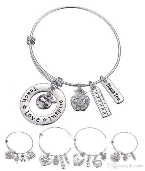 Love Inspire Teach White Crystal Apple Ruler Bracelet Stainless Steel Pendant Bangle Jewelry Gift Teacher Friend DLH204