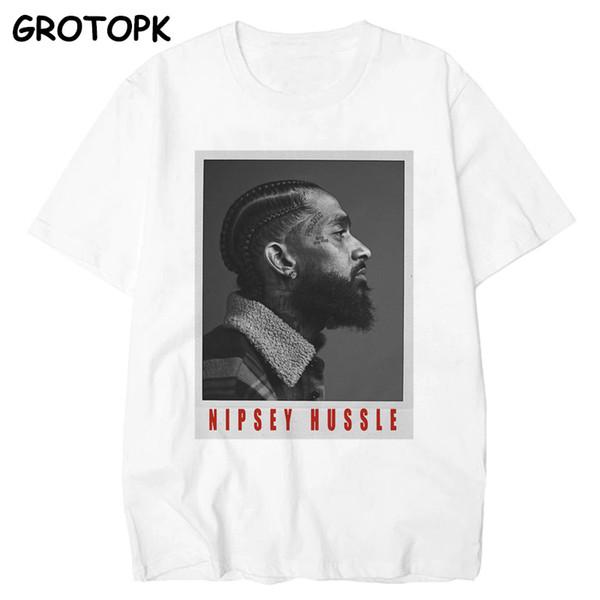 Die große Nipsey gedruckt Männer T-Shirt 2019 Hip Hop White T-Shirt Harajuku Streetwear Rapper Lil Peep Nipsey Hussle Männer Kleidung