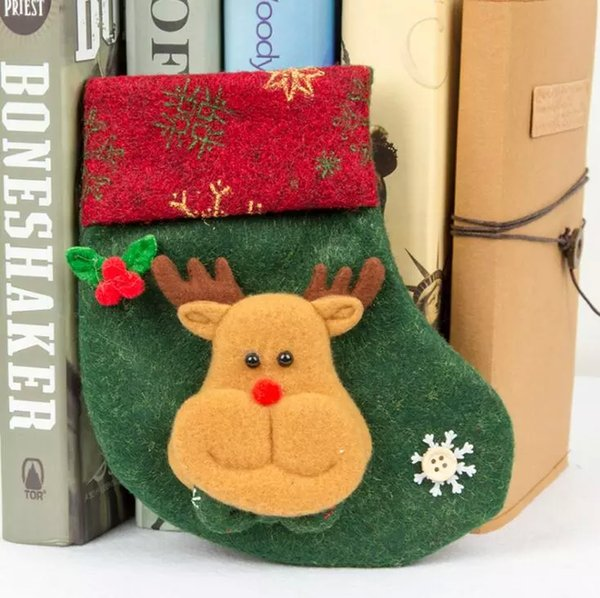 2018 Cute Christmas Stocking Snowman Elk Santa Claus Candy Gift Bags For Children Cutlery Bag Christmas Tree Hanging Ornament Home Decor