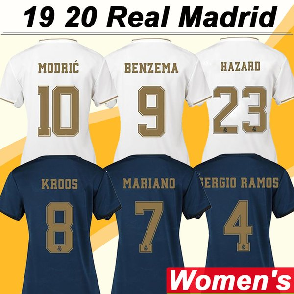 19 20 Real Madrid Women HAZARD MODRIC Soccer Jerseys New SERGIIO RAMOS KROOS BENZEMA MARCELO Home Away Football Shirts ISCO BALE Uniforms