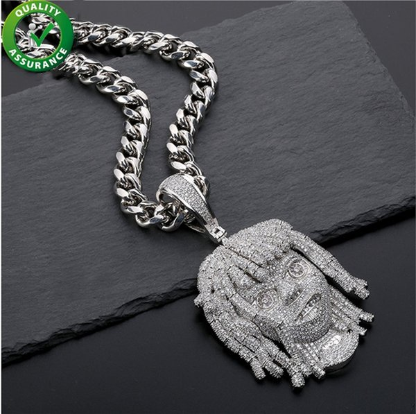 Mens Necklace Hip Hop Designer Jewelry Iced Out Pendant Diamond Cuban Link Chain Micro Paved Bling CZ Lil Pump Portrait Pendants Rapper Gift