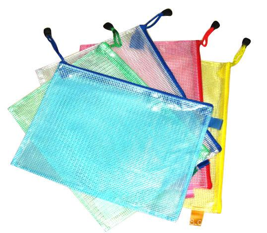 Practical Multi-Specification Transparent Simple Grid Zipper Stationery File Bag Pencil Case Makeup School Office Supply Storage