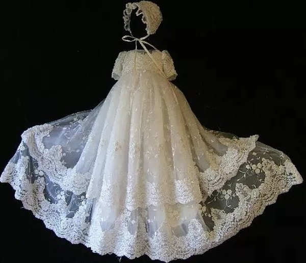 First Communion Dresses Lace Applique Edge Two Layer Ankle Length Short Sleeves Baptism Outfits Formal Infant Girl Wear With Hat 139