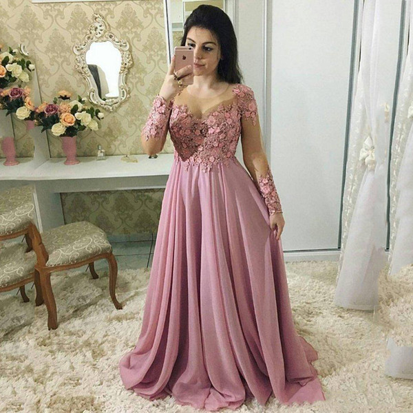 Custom Long Sleeves Lace Mother Of the Bride Dresses 2020 with Appliques Jewel Neck Sweep Train Chiffon Plus Size Evening Gowns