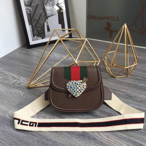 New Diamond Heart Saddle Bag Shoulder Crossbody Bag 500756 Brown REAL LEATHER ICONIC BAGS SHOULDER BAG TOTES BUSINESS MESSENGER BAGS