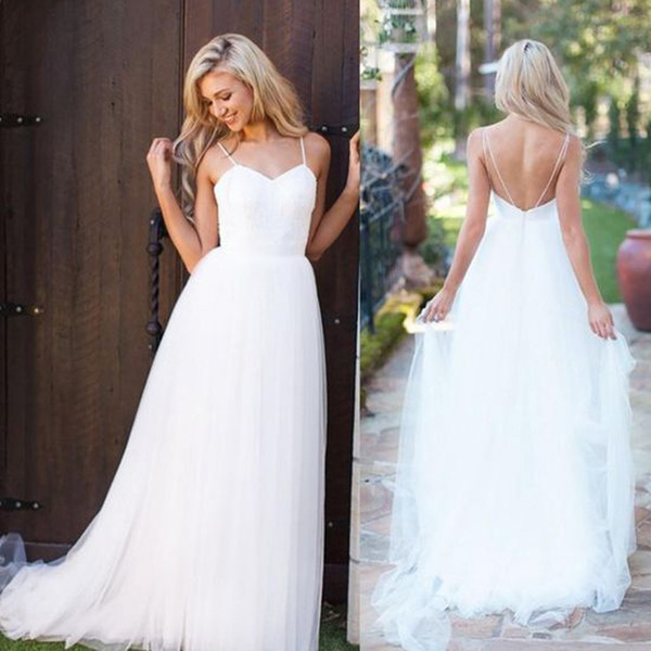 Lace Tulle Country Style Beach Wedding Dresses Spaghetti Straps Cheap High Quality Bohemian Boho Bridal Gowns with Sweep Train Custom Made