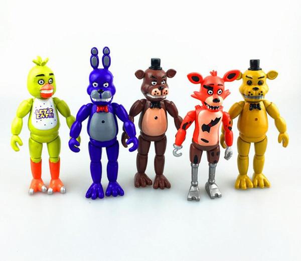 5 Adet / takım 15 cm At Beş Nights Freddy 'S Pvc Action Figure Oyuncak Foxy Altın Freddy Chica Freddy Led Işıkları Ile