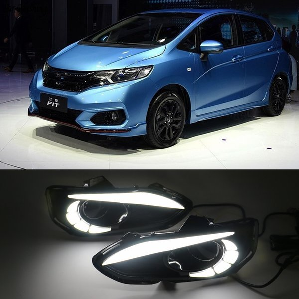 wholesale 2pcs LED DRL Daytime Running Lights Daylight Fog Lamp Cover With Turn signal lamp For Honda jazz fit 2018 2019