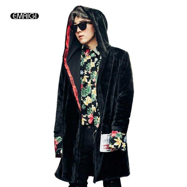 Gros- 2017 Hommes Automne Hiver long Faux Manteau de fourrure Thicken Cardigan Trench High Street Fashion Casual Veste à capuche