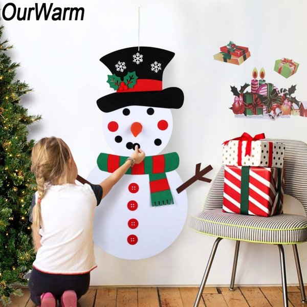 Ourwarm Christmas Gifts For Kids Diy Felt Snowman Set Christmas Decorations Wall Hanging With Stick-on Decoration New Year 2018 Y19061103