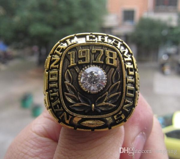 Nlm99 Drop Shipping FASHION NEW 1978 Alabama Crimson Tide Football Championship ring With Wooden Display Box Fan Men Gift Wholesale