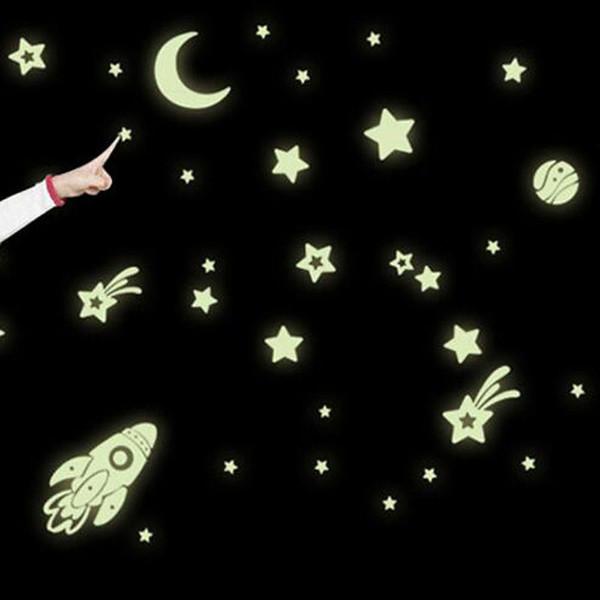 DIY Leuchtende PVC Aufkleber Wand Im Dunkeln leuchten Raum Sterne Planet Rocket Kinder Schlafzimmer Dekorative Aufkleber Home Kunst Aufkleber Papier