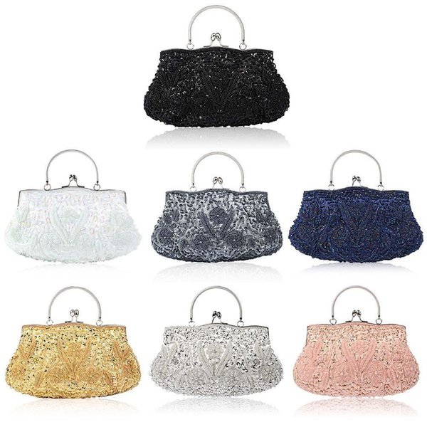 Vintage Style Evening Bag Sequined Handmade Beaded Embroidered Party Handbag Clutch Purse Totes Crossbady Women Messenger Bags