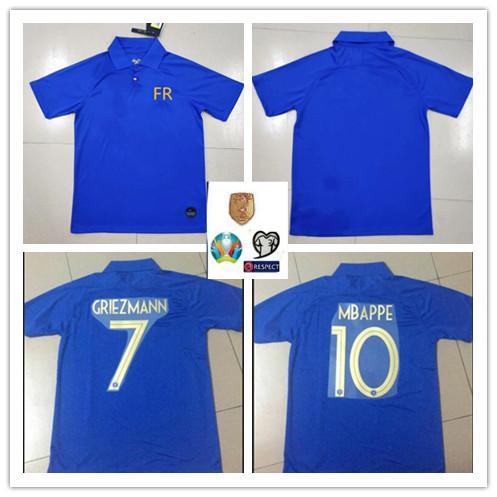 4fa37b1be3d17 2019 MBAPPE camiseta de fútbol del 100 aniversario 2018 Maillot de foot world  cup 2 estrellas KANTE GRIEZMANN POGBA camiseta de fútbol