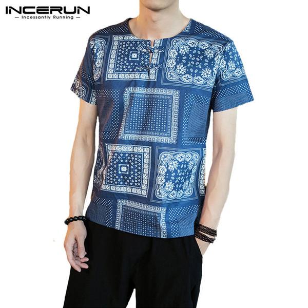 in vendita 6489c 71643 Acquista Camicie Etniche Boho 5XL Camicie Eleganti Uomo Manica Corta  Pullover Girocollo Stile Cinese Mens Abbigliamento Camisas Masculina T  Shirt A ...