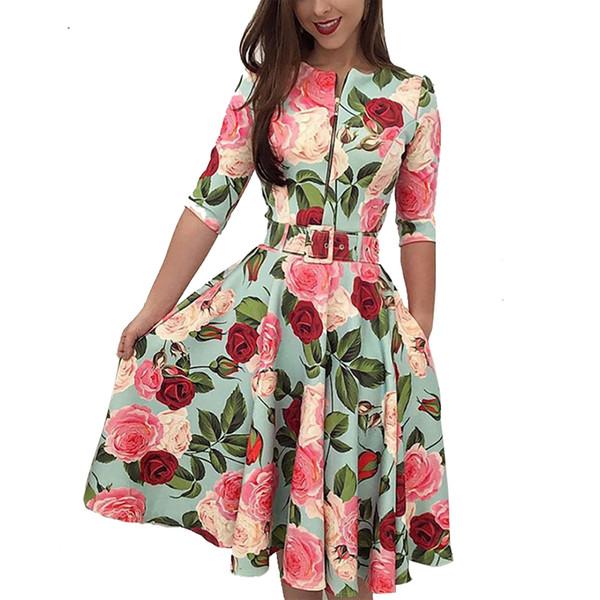 Robe de soirée d'été à manches longues pour femmes à manches longues et robe de plage florale Robe d'été à manches longues et ceinture
