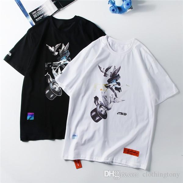 19ss paris heron preston voando pombo pomba amantes camisetas de algodão das mulheres dos homens de manga curta de verão tee respirável colete camisa ao ar livre t-shirt