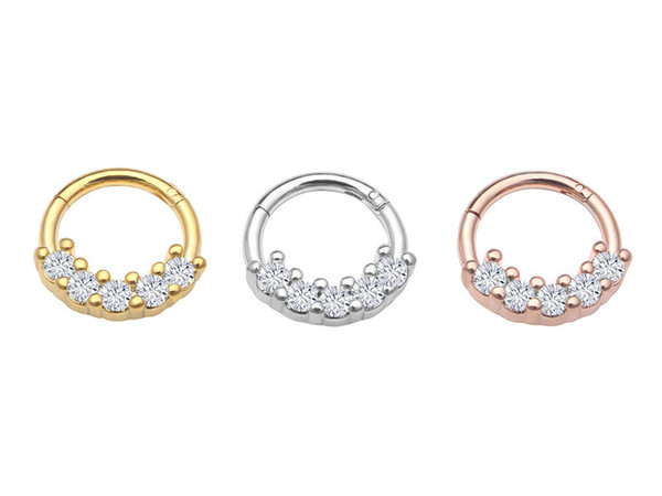 10pcs/lot Free Shipping Titanium Seamless CZ Hinged Segment Ring Clicker Cartilage Nose/Lip Hoop Septum Ear Diath Rings NEW 16G